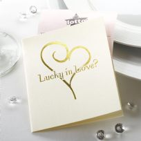 Contemporary Heart Lottery Ticket Holders - Ivory & Gold (10)